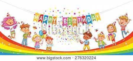 Happy Birthday. Kids Celebrating With Gift, Cake Confetti And Balloons. Jumping Have Fun. Template F
