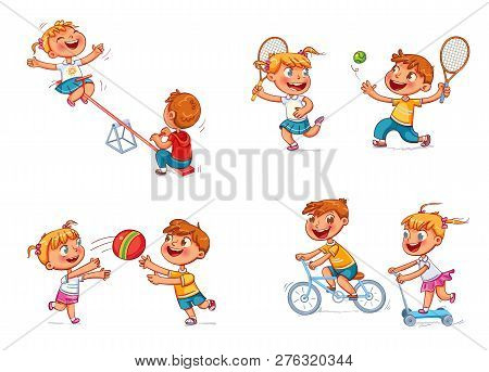 Boy On Bike. Girl On Scooter. Children Ride On A Swing. Boy And Girl Playing With A Ball. Brother An