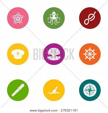 Sea Occupant Icons Set. Flat Set Of 9 Sea Occupant Icons For Web Isolated On White Background