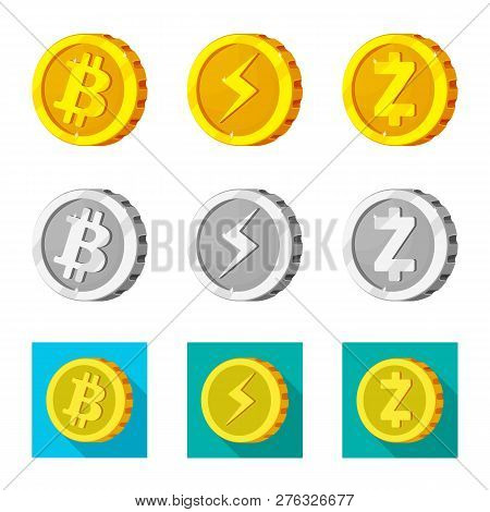 Vector Design Of Cryptocurrency And Coin Icon. Collection Of Cryptocurrency And Crypto Vector Icon F