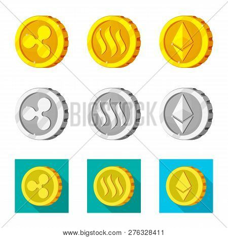 Vector Design Of Cryptocurrency And Coin Logo. Set Of Cryptocurrency And Crypto Stock Symbol For Web