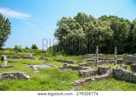 Ancient Greece City Dion. Ruins Of House Of Dionysos. Archaeological Park Of Sacred City Of Macedon.