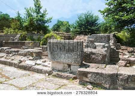 Ancient Greece City Dion. Ruins Of Living House. Archaeological Park Of Sacred City Of Macedon.