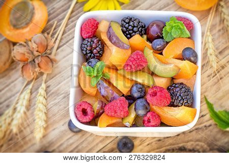 Delicious Healthy Fruit Salad, Fruit Salad Prepared With Fresh Organic Fruit