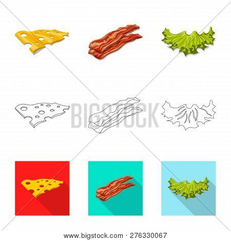 Vector Illustration Of Burger And Sandwich Sign. Set Of Burger And Slice Stock Symbol For Web.