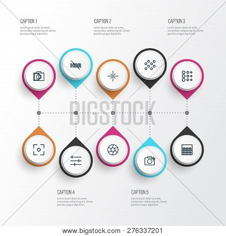 Photo Icons Line Style Set With Photographing, Sparkle, Colorless And Other Tune Elements. Isolated