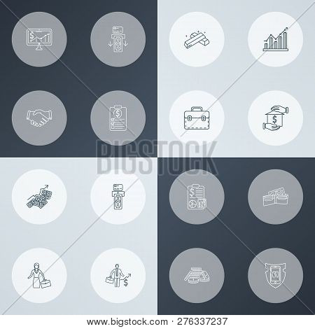 Financial Icons Line Style Set With Briefcase, Financial Plan, Accounting And Other Cash Pile Elemen