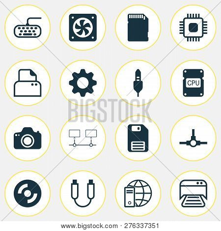 Hardware Icons Set With Distributed Connection, Photocamera, Floppy Disk And Other Memory Card Eleme
