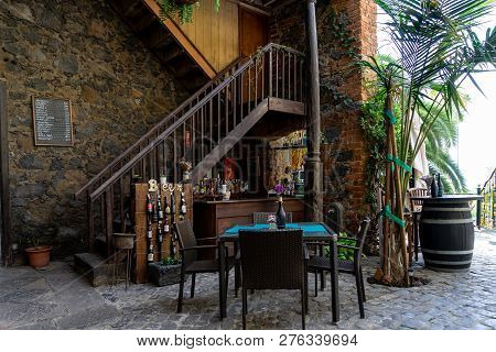 La Orotava, Tenerife, Canary Islands, Spain - July 25, 2018: Interior Of A Small And Cozy Restaurant