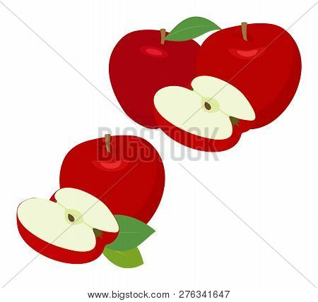 Ripe Red Apple Fruit With Apple Half And Apple Leaf Isolated On White Background. Apples And Leaf Wi