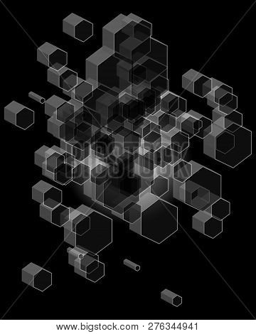 3d Hexagon Background, Geometric And Honeycomb Shape