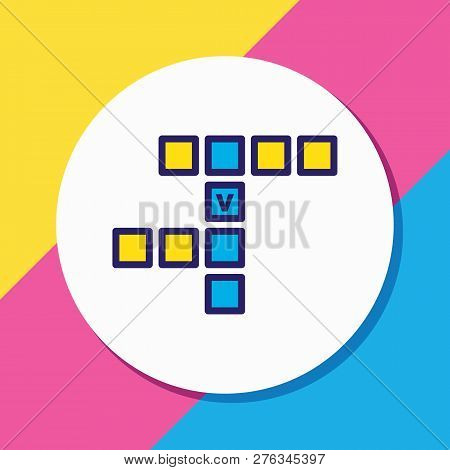 Vector Illustration Of Crossword Icon Colored Line. Beautiful Hobby Element Also Can Be Used As Rebu