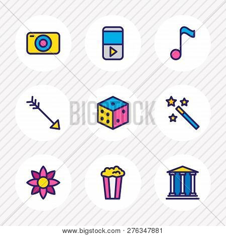 Vector Illustration Of 9 Entertainment Icons Colored Line. Editable Set Of Magic Wand, Player, Quave