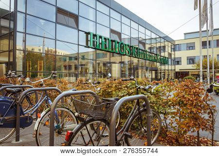October 19, 2018 Germany. Clinic Helios Krefeld. Bicycle Ecological Mode Of Transport In Europe. Bic