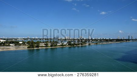 Miami Beach Florida Skyline And Scenery Seen Looking East From Downtown Miami