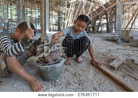 Child Labor, Children Are Forced To Work Construction, Violence Children And Trafficking Concept, An
