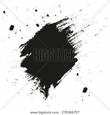 Paint Splatter Background. Grunge Distress Calligraphy Ink Stains. Black Ink Blow Explosion. Splatte