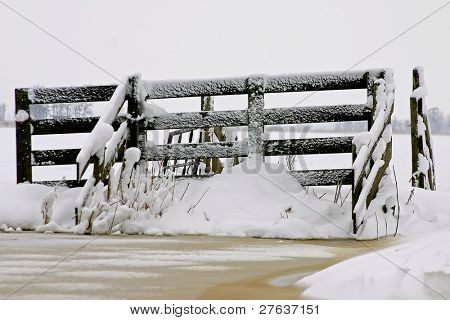 Snowy fence on a cold winterday in the Netherlands