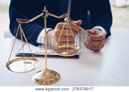 Gold Brass Scales Of Justice. Male Lawyers Working At The Law Firms. Legal Law, Lawyer, Advice And J