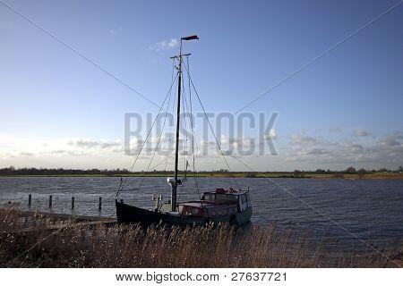 Sailingboat at the IJsselmeer in the Netherlands