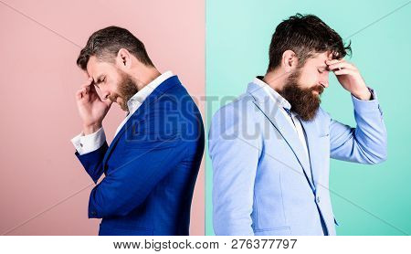Different Point Of View. Opinion Difference. Businessmen Thoughtful Face Thinking About Business Pro
