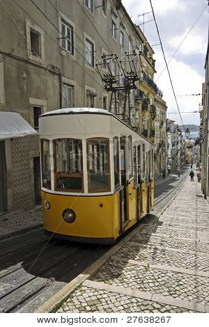 Ascensores de Bica in Lisbon Portugal, a national monument