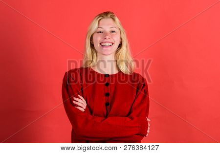 Brilliant Smile Concept. Girl Blonde Happy Smiling Face Over Red Background. Emotional Woman Happy S