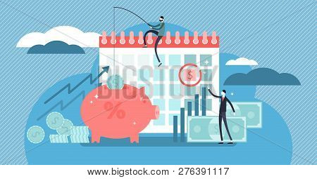 Payday Loans Vector Illustration. Flat Tiny Persons Concept With Small, Short-term Unsecured Loan Fo