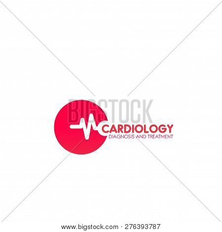 Cardiology Diagnosis And Treatment Vector Sign In Red Color Isolated On A White Background. Heart De