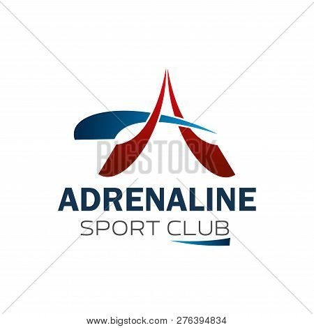 Sport Club Or Gym And Fitness Center Icon Of Letter A. Vector Isolated Red And Blue Letter A For Adr