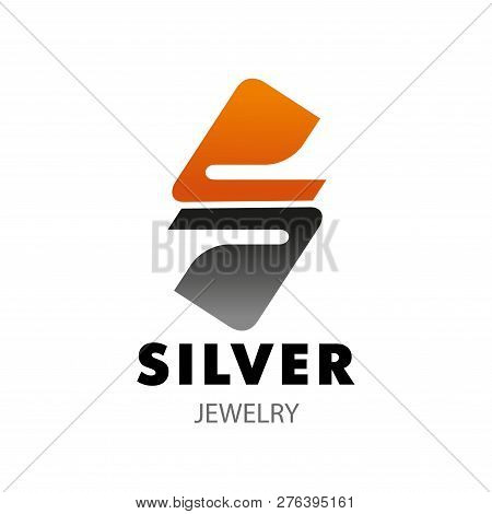 Silver Jewelry Shop Icon Of S Letter For Woman Jewelry Accessories. Vector Letter S In Golden And Si