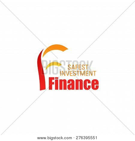 Finance Icon For Business Success And Banking Investment Design. Orange And Red Corporate Identity A