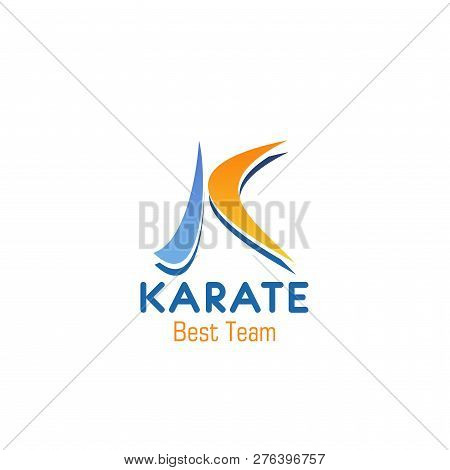 K Letter Icon For Karate Sport Club Or Team Badge. Vector Isolated Letter K In Japanese Calligraphic