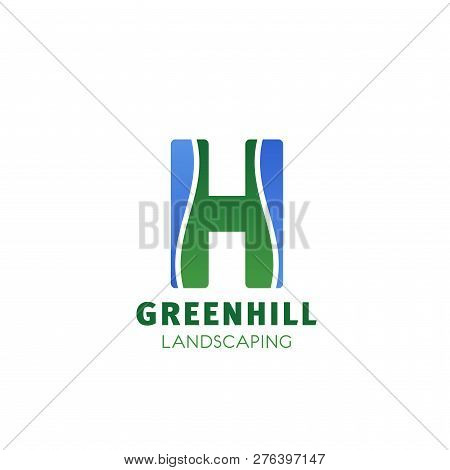 Landscape Design Company Letter H Icon For Landscaping And Green Gardening Designing. Vector Isolate