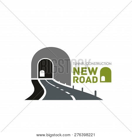 Tonnel Construction Vector Sign. Vector Icon With Roadway And Tunnel, Concept Of Transportation And