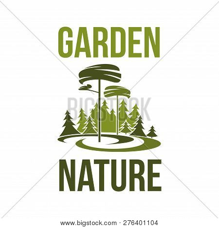 Garden Nature Green Trees Forest Or Park Icon For Environment Ecology. Vector Isolated Symbol Of Par