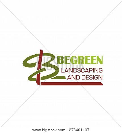 Landscaping And Green Design Letter B Icon Of Tree For Landscape Designing Studio. Vector Letter B S
