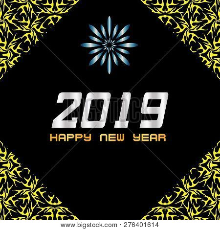 Ethnic Abstract 2019 Happy New Year Design. 2019 On Black Background, Happy New Years, 2019 New Year