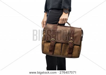Businesswoman Carrying Briefcase Standing Isolated Over White Background