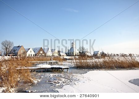Durgerdam in winter in the Netherlands