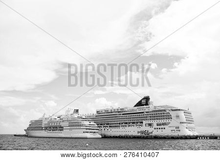 Costa Maya, Mexico - December 19, 2015: Norwegian Pearl And Regent Cruise Ships In Sea. Cruise Ships