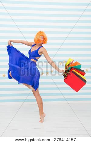 Perfect Day. Happy Shopping Online. Happy Holidays. Crazy Girl With Shopping Bags. Happy Woman Go Sh