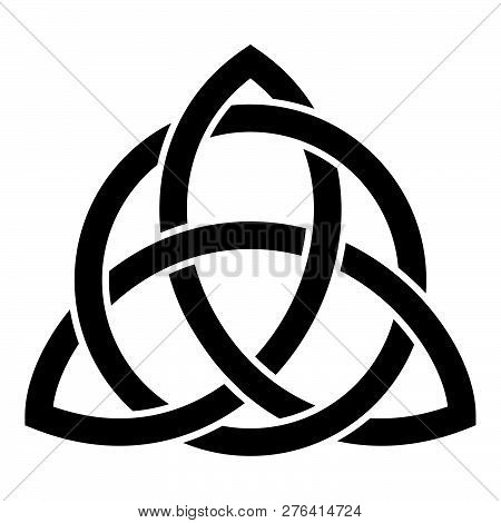 Triquetra In Circle Trikvetr Knot Shape Trinity Knot Icon Black Color Vector Illustration Flat Style