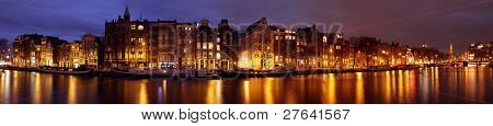 Panoramic city scenic in Amsterdam with the Munt Tower in the Netherlands at sunset