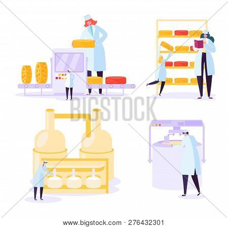 Cheese Food Production Industry Collection. Commercial Character Making Dairy Machinery Pasteurizati