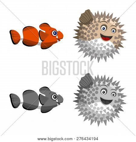 Vector Illustration Of Sea And Animal Logo. Set Of Sea And Marine Vector Icon For Stock.