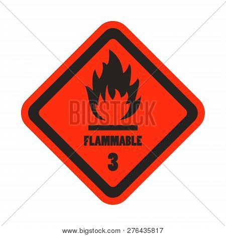 Flammable Attention Sticker Level 3 Isolated In The White Background