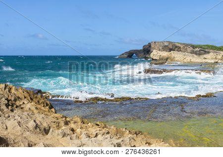Seascape Of Rocky Atlantic Coast Near Cueva Del Indio In Northern Puerto Rico