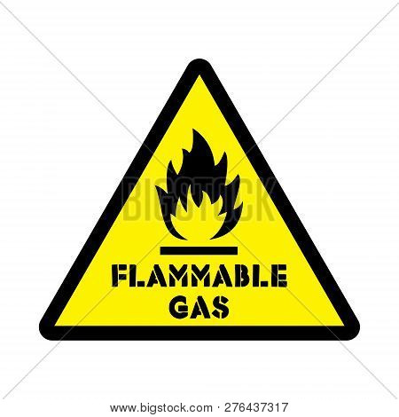 Flammable Gas Attention Sticker Level 2 Isolated On The White Background