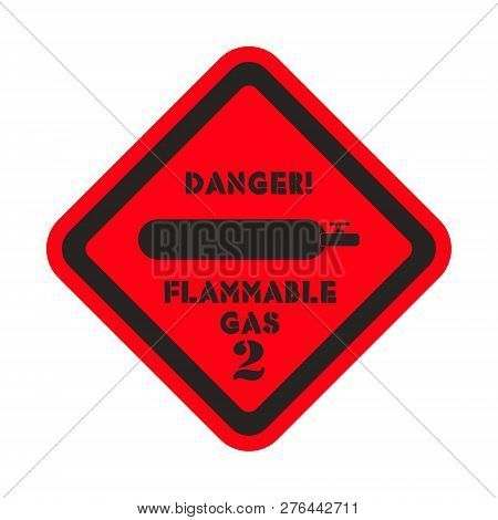 Flammmable Gas Vector Sticker On The Red Background